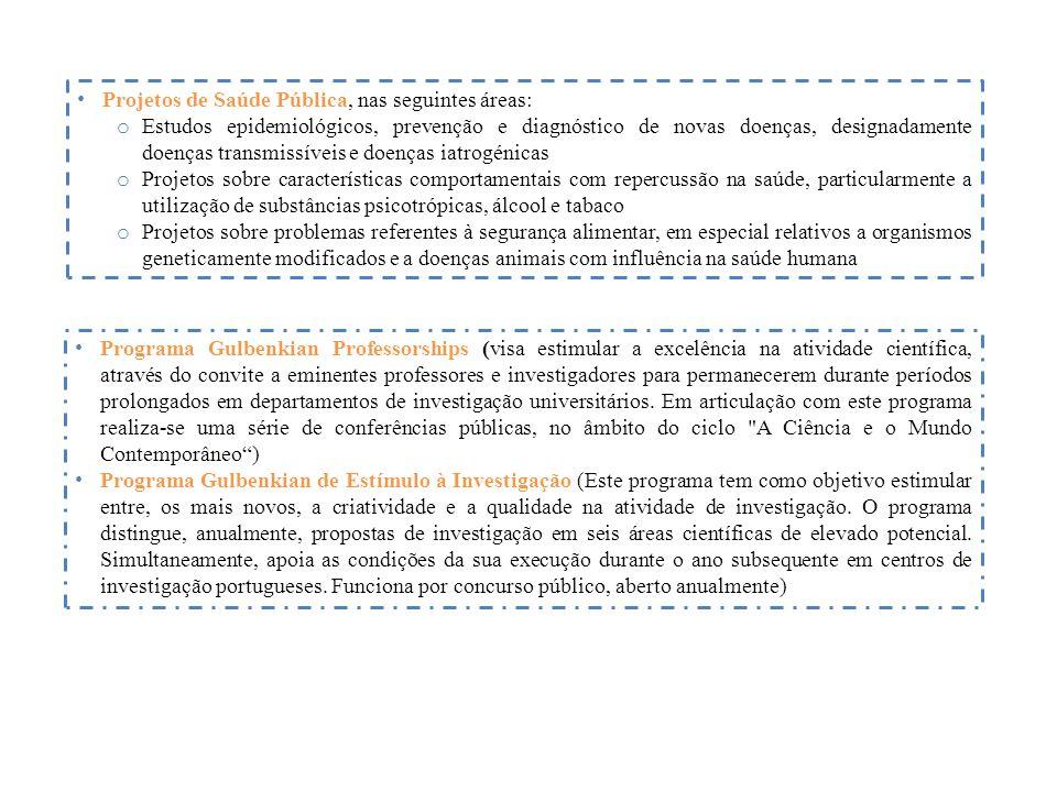 Projetos de Saúde Pública, nas seguintes áreas: o Estudos epidemiológicos, prevenção e diagnóstico de novas doenças, designadamente doenças transmissíveis e doenças iatrogénicas o Projetos sobre características comportamentais com repercussão na saúde, particularmente a utilização de substâncias psicotrópicas, álcool e tabaco o Projetos sobre problemas referentes à segurança alimentar, em especial relativos a organismos geneticamente modificados e a doenças animais com influência na saúde humana Programa Gulbenkian Professorships (visa estimular a excelência na atividade científica, através do convite a eminentes professores e investigadores para permanecerem durante períodos prolongados em departamentos de investigação universitários.