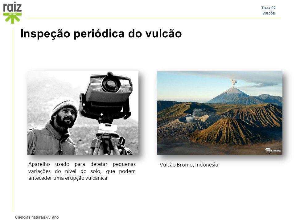 Ciências naturais/7.º ano T EMA 02 V ULCÕES Inspeção periódica do vulcão Aparelho usado para detetar pequenas variações do nível do solo, que podem an