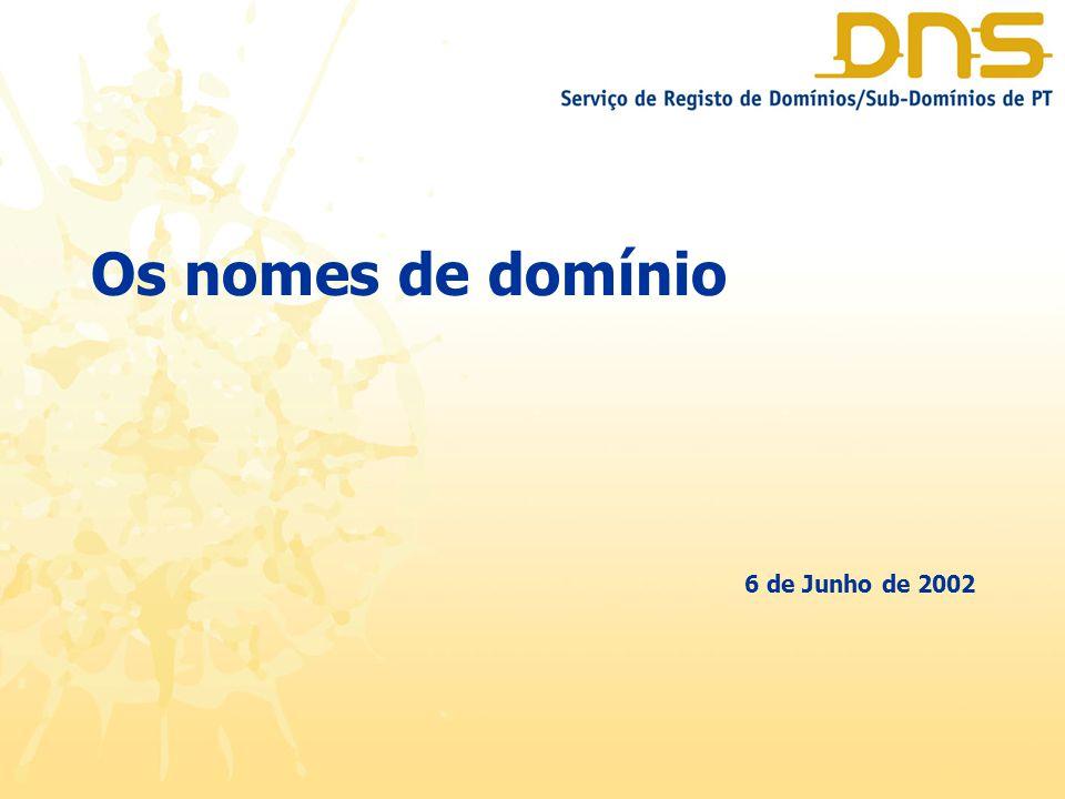 O que é um nome de domínio Tipos de nomes de domínio O ccTLD.PT Os nomes de Domínio e Os Direitos de Propriedade Industrial 6 de Junho de 2002