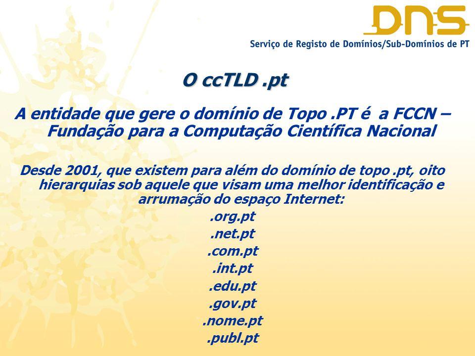 O ccTLD.pt A entidade que gere o domínio de Topo.PT é a FCCN – Fundação para a Computação Científica Nacional Desde 2001, que existem para além do domínio de topo.pt, oito hierarquias sob aquele que visam uma melhor identificação e arrumação do espaço Internet:.org.pt.net.pt.com.pt.int.pt.edu.pt.gov.pt.nome.pt.publ.pt