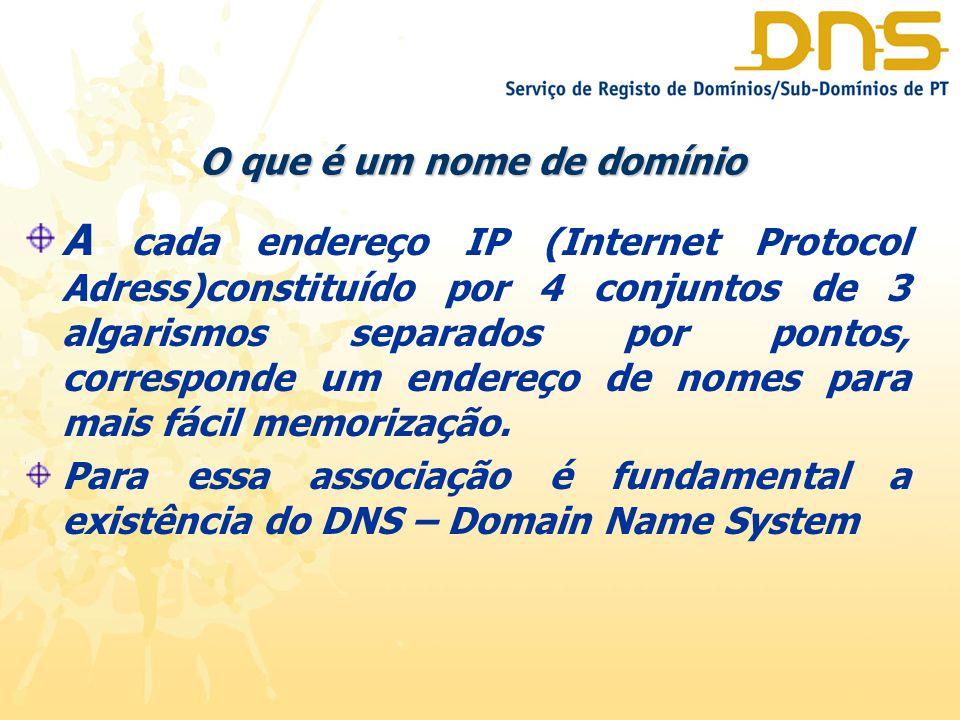 O que é um nome de domínio A cada endereço IP (Internet Protocol Adress)constituído por 4 conjuntos de 3 algarismos separados por pontos, corresponde um endereço de nomes para mais fácil memorização.