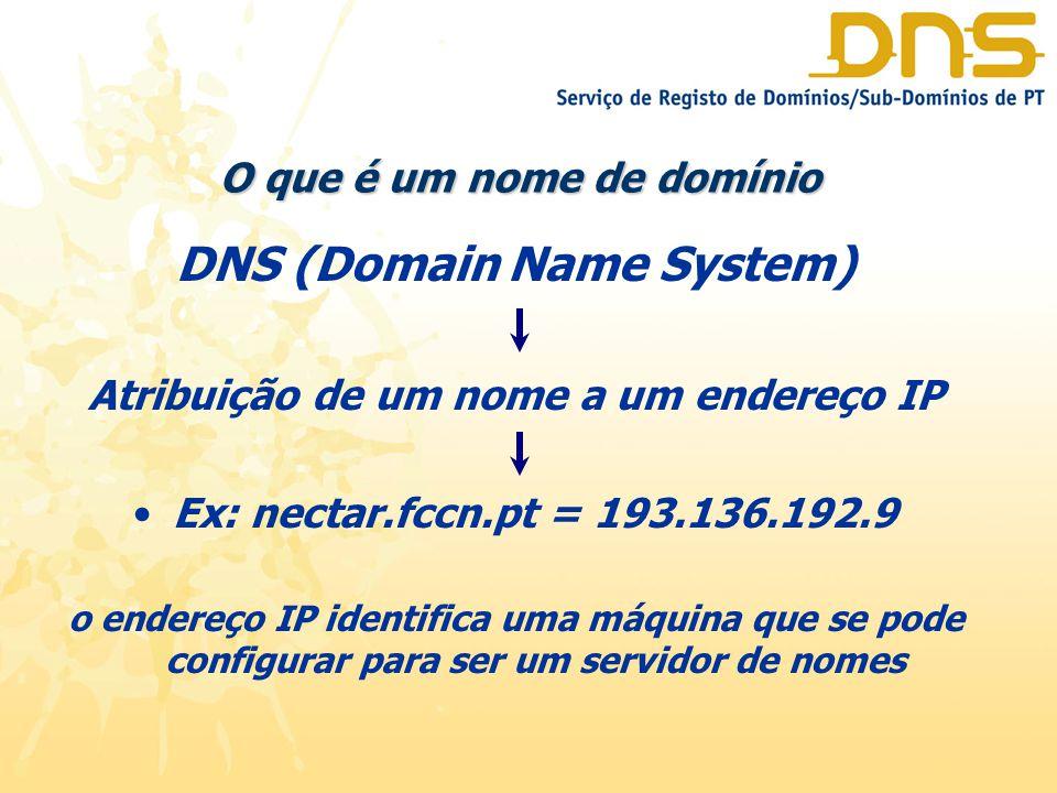O que é um nome de domínio DNS (Domain Name System) Atribuição de um nome a um endereço IP Ex: nectar.fccn.pt = 193.136.192.9 o endereço IP identifica uma máquina que se pode configurar para ser um servidor de nomes