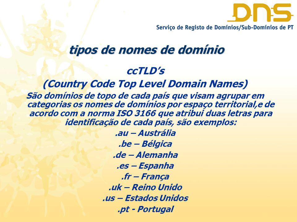 tipos de nomes de domínio ccTLD's (Country Code Top Level Domain Names) São domínios de topo de cada país que visam agrupar em categorias os nomes de domínios por espaço territorial,e de acordo com a norma ISO 3166 que atribui duas letras para identificação de cada país, são exemplos:.au – Austrália.be – Bélgica.de – Alemanha.es – Espanha.fr – França.uk – Reino Unido.us – Estados Unidos.pt - Portugal