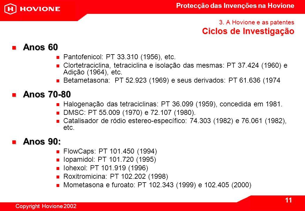 Protecção das Invenções na Hovione Copyright Hovione 2002 11 3.
