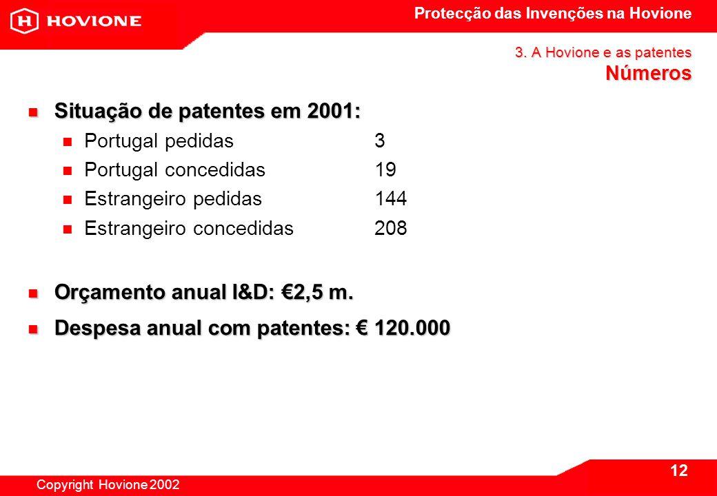 Protecção das Invenções na Hovione Copyright Hovione 2002 13 3.