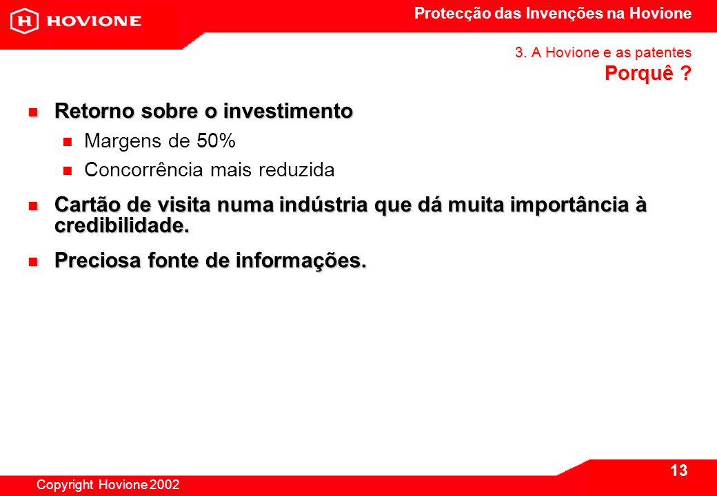 Protecção das Invenções na Hovione Copyright Hovione 2002 14 4.