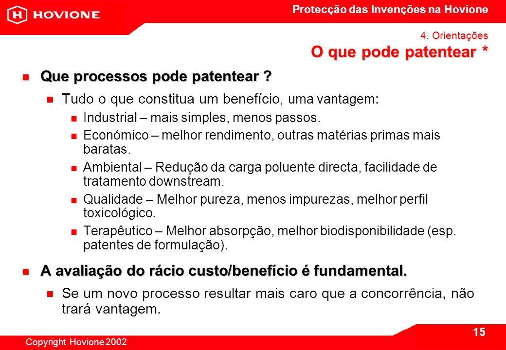 Protecção das Invenções na Hovione Copyright Hovione 2002 15 4.