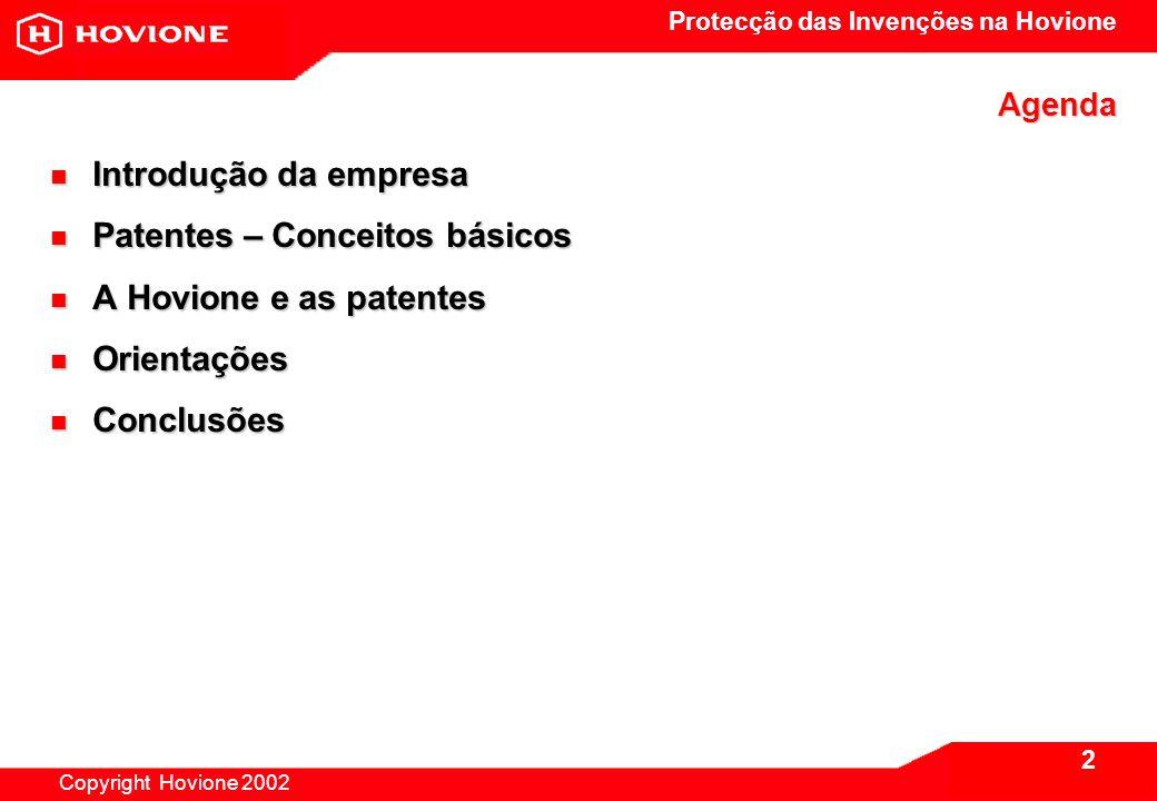 Protecção das Invenções na Hovione Copyright Hovione 2002 3 1.