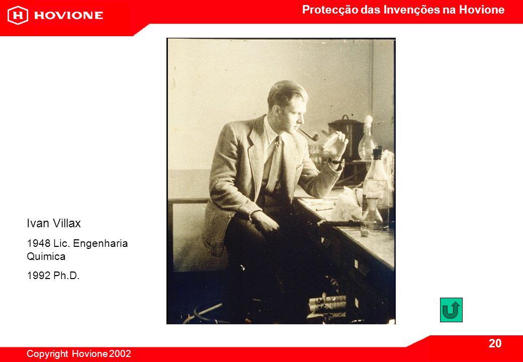 Protecção das Invenções na Hovione Copyright Hovione 2002 20 Ivan Villax 1948 Lic.