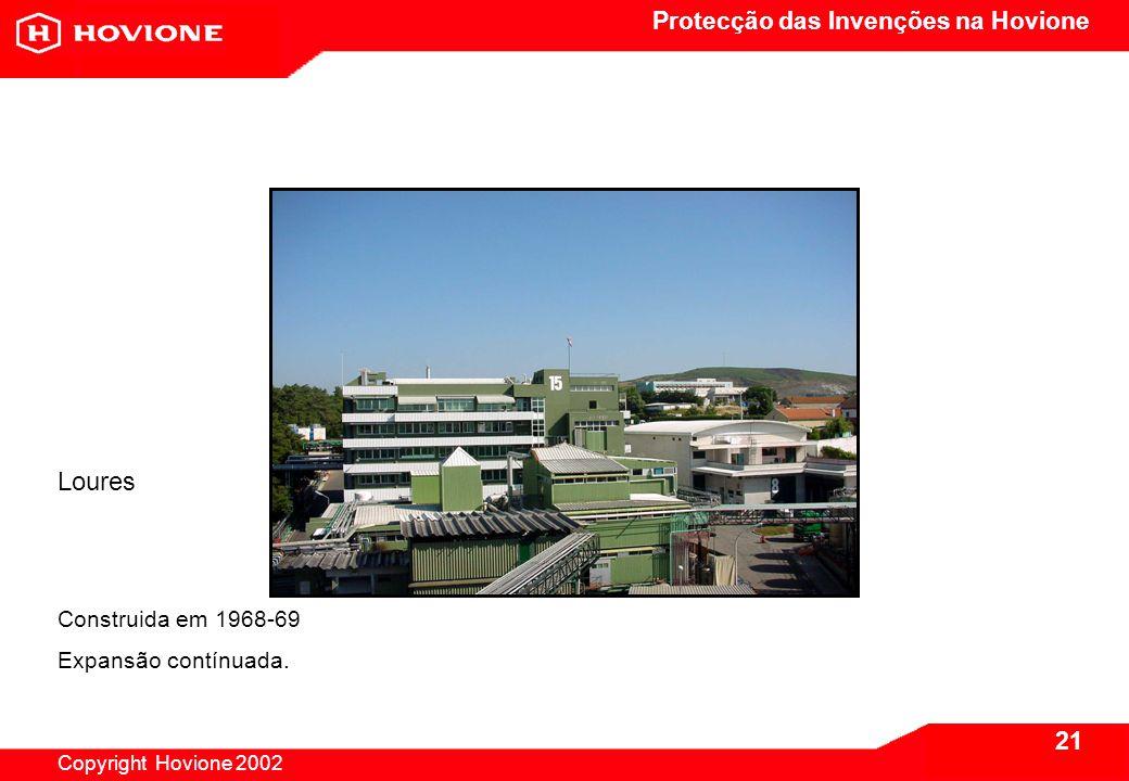 Protecção das Invenções na Hovione Copyright Hovione 2002 22 Loures Investimentos em automação industrial rondam os €4 m.