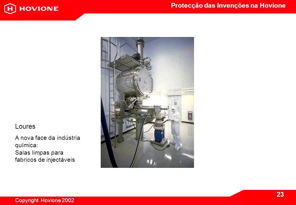 Protecção das Invenções na Hovione Copyright Hovione 2002 23 Loures A nova face da indústria química: Salas limpas para fabricos de injectáveis