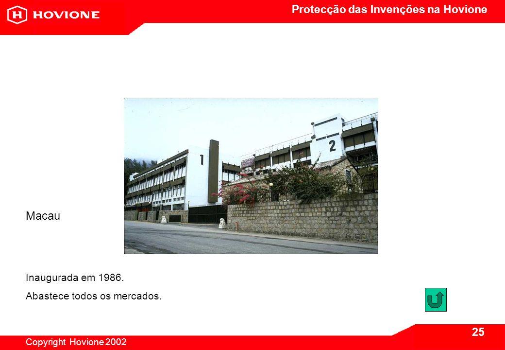 Protecção das Invenções na Hovione Copyright Hovione 2002 25 Macau Inaugurada em 1986.