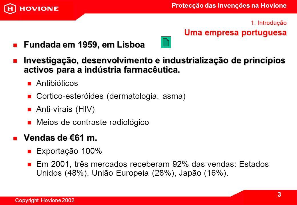 Protecção das Invenções na Hovione Copyright Hovione 2002 4 1.