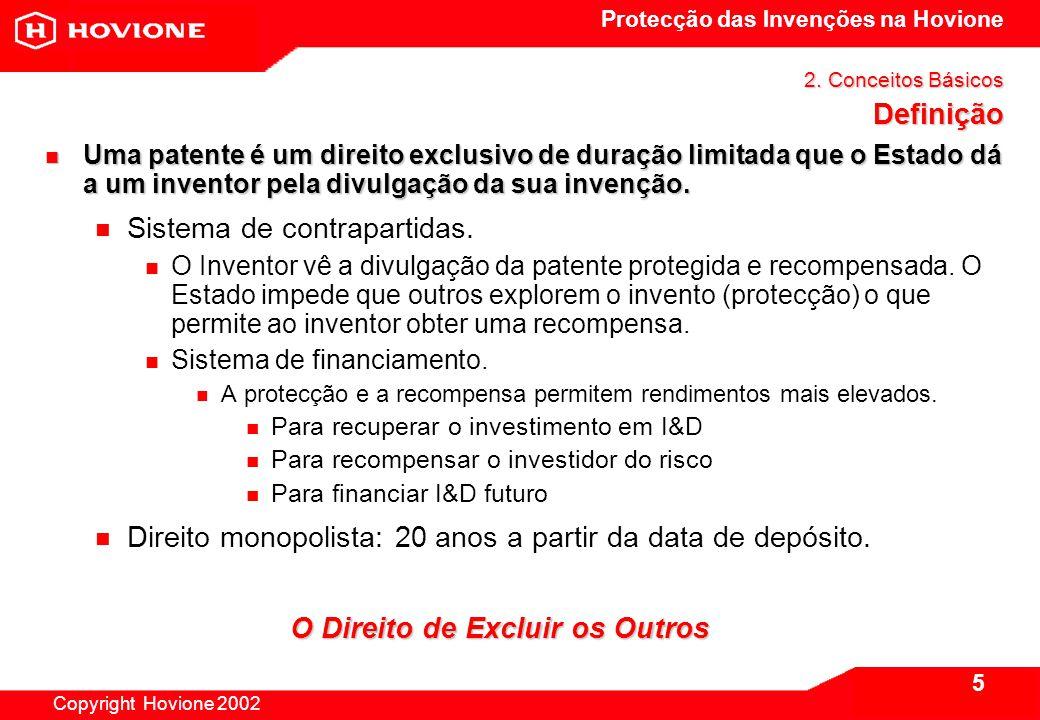 Protecção das Invenções na Hovione Copyright Hovione 2002 5 2.