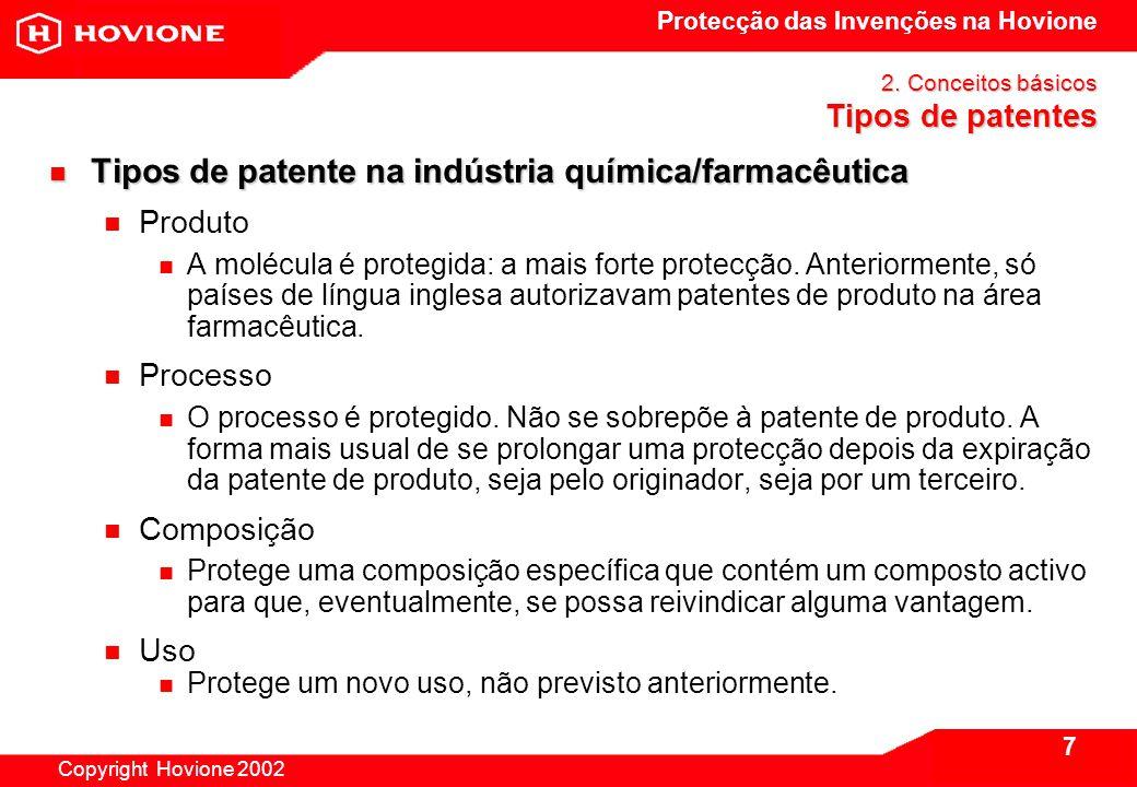 Protecção das Invenções na Hovione Copyright Hovione 2002 8 2.