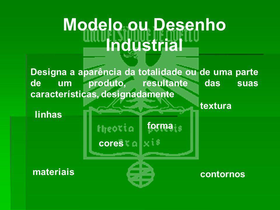 Modelo ou Desenho Industrial Designa a aparência da totalidade ou de uma parte de um produto, resultante das suas características, designadamente linh