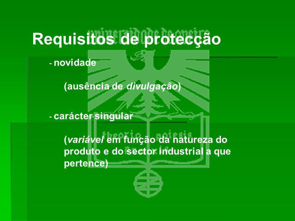 Requisitos de protecção - novidade (ausência de divulgação) - carácter singular (variável em função da natureza do produto e do sector industrial a qu