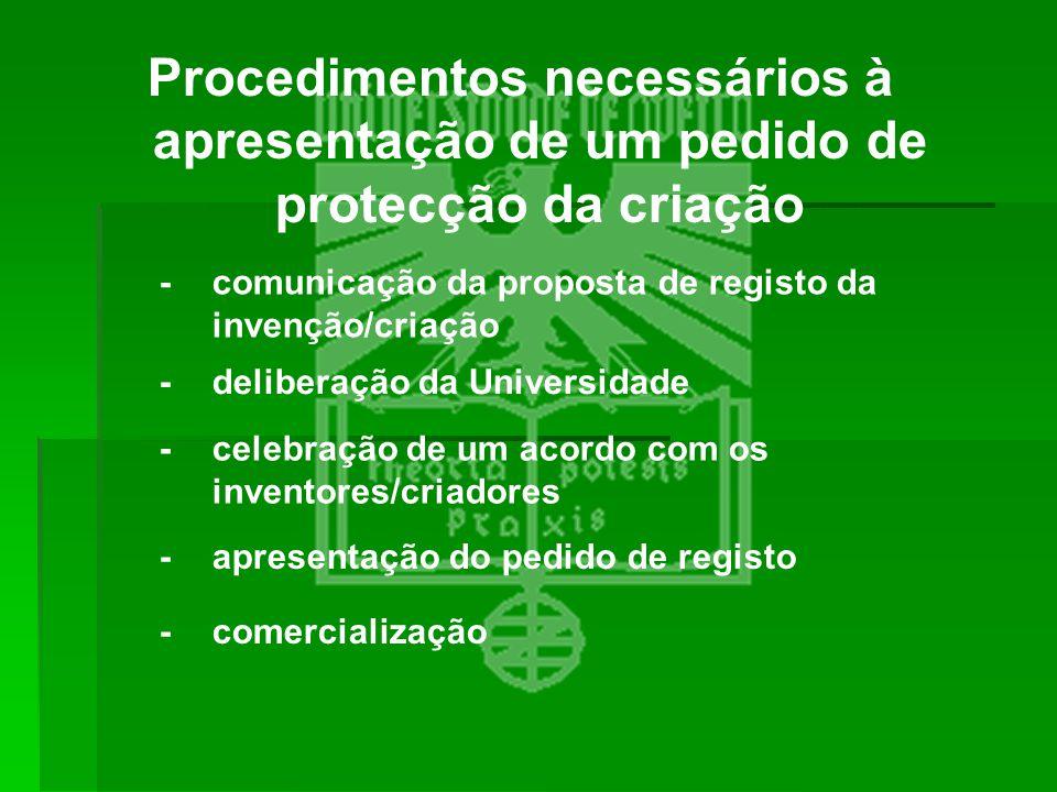Procedimentos necessários à apresentação de um pedido de protecção da criação -comunicação da proposta de registo da invenção/criação -deliberação da
