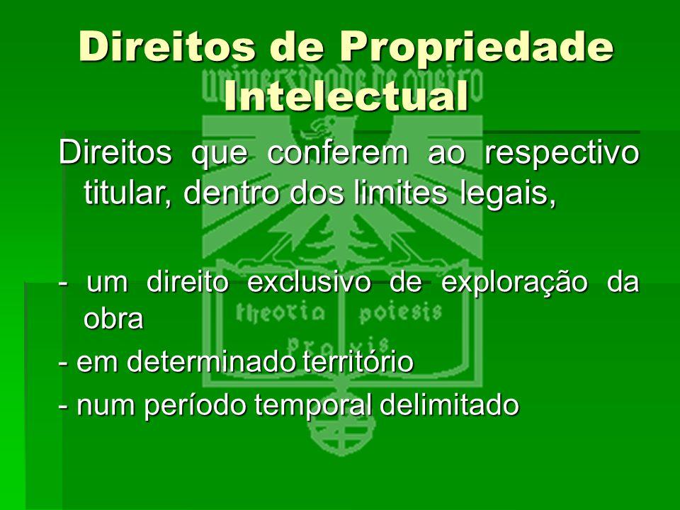 Direitos de Propriedade Intelectual Direitos que conferem ao respectivo titular, dentro dos limites legais, - um direito exclusivo de exploração da ob
