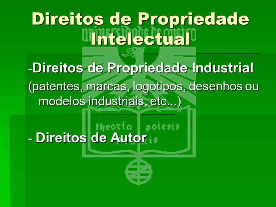 Direitos de Propriedade Intelectual - Direitos de Propriedade Industrial (patentes, marcas, logotipos, desenhos ou modelos industriais, etc...) - Dire