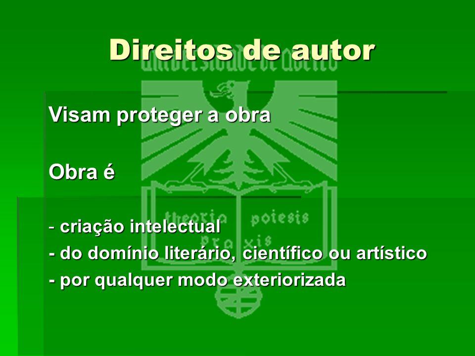 Direitos de autor Visam proteger a obra Obra é - criação intelectual - do domínio literário, científico ou artístico - por qualquer modo exteriorizada