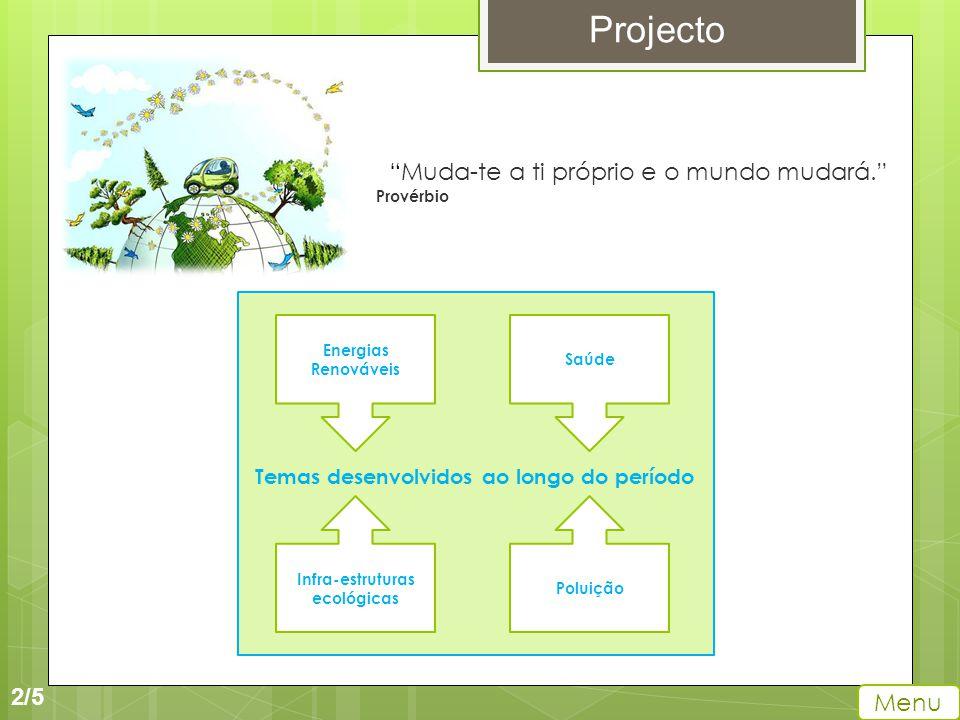 2/5 Projecto Menu Muda-te a ti próprio e o mundo mudará. Provérbio Temas desenvolvidos ao longo do período Energias Renováveis Saúde Infra-estruturas ecológicas Poluição
