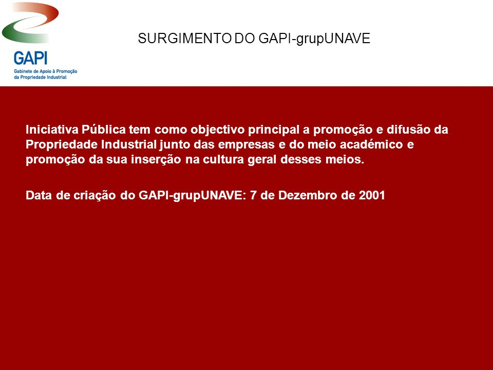 Data de criação do GAPI-grupUNAVE: 7 de Dezembro de 2001 Iniciativa Pública tem como objectivo principal a promoção e difusão da Propriedade Industrial junto das empresas e do meio académico e promoção da sua inserção na cultura geral desses meios.