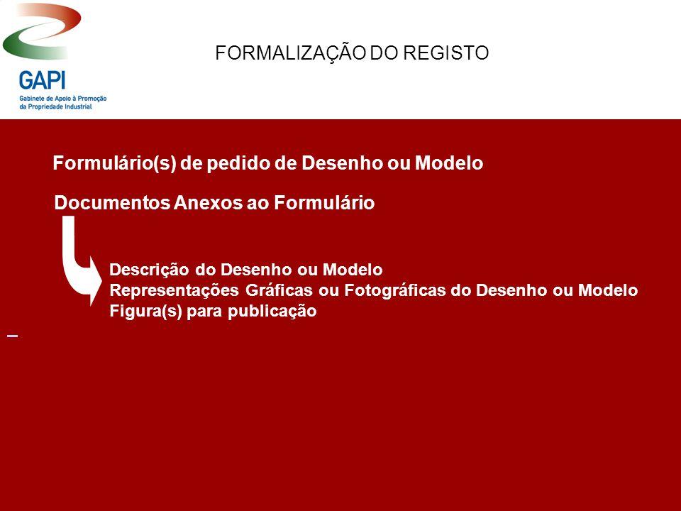 FORMALIZAÇÃO DO REGISTO Formulário(s) de pedido de Desenho ou Modelo Documentos Anexos ao Formulário Descrição do Desenho ou Modelo Representações Gráficas ou Fotográficas do Desenho ou Modelo Figura(s) para publicação
