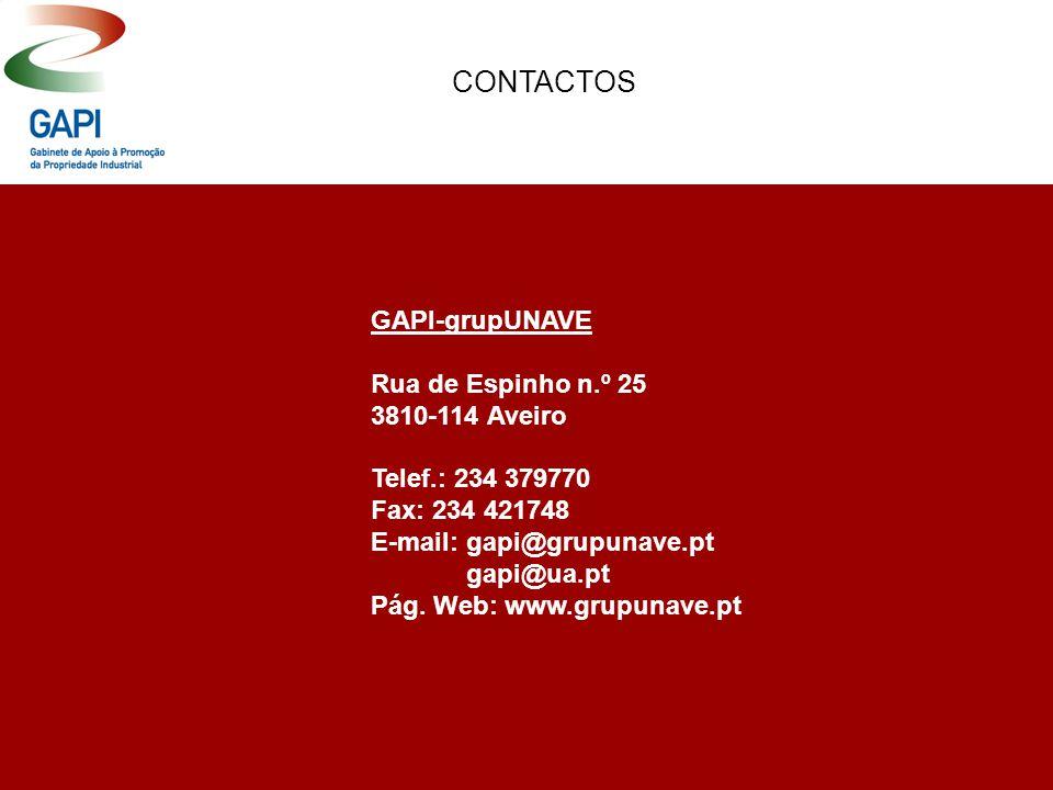 CONTACTOS GAPI-grupUNAVE Rua de Espinho n.º 25 3810-114 Aveiro Telef.: 234 379770 Fax: 234 421748 E-mail: gapi@grupunave.pt gapi@ua.pt Pág. Web: www.g