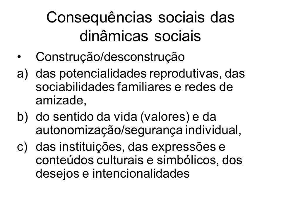 Consequências sociais das dinâmicas sociais Construção/desconstrução a)das potencialidades reprodutivas, das sociabilidades familiares e redes de amizade, b)do sentido da vida (valores) e da autonomização/segurança individual, c)das instituições, das expressões e conteúdos culturais e simbólicos, dos desejos e intencionalidades