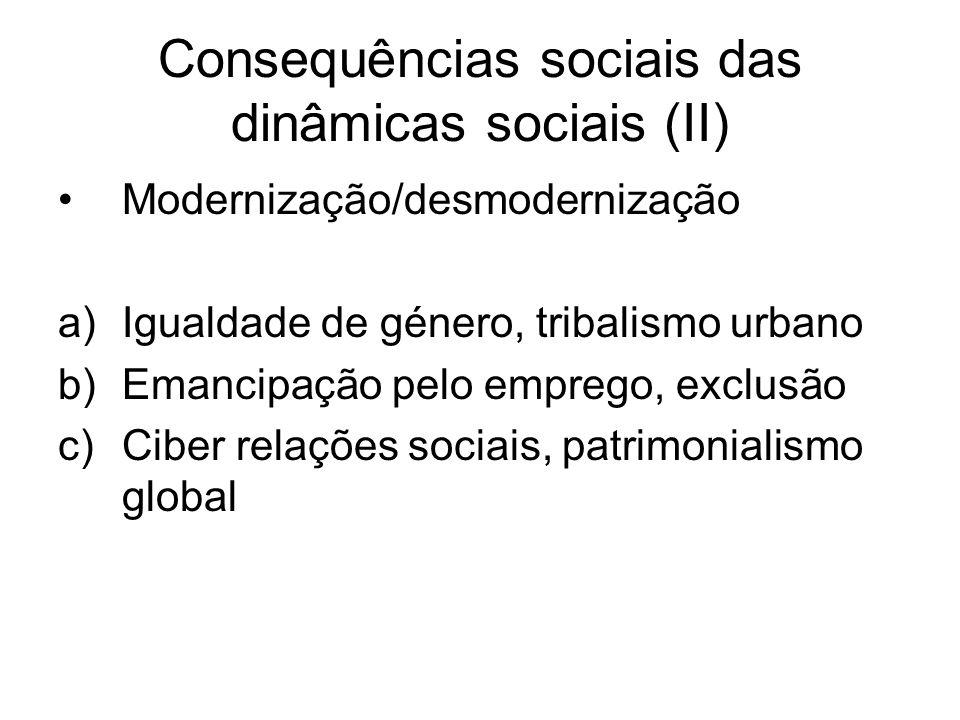 Consequências sociais das dinâmicas sociais (II) Modernização/desmodernização a)Igualdade de género, tribalismo urbano b)Emancipação pelo emprego, exclusão c)Ciber relações sociais, patrimonialismo global