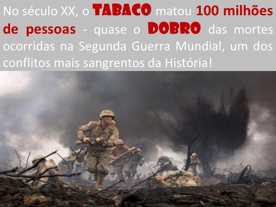No século XX, o TABACO matou 100 milhões de pessoas - quase o dobro das mortes ocorridas na Segunda Guerra Mundial, um dos conflitos mais sangrentos da História!