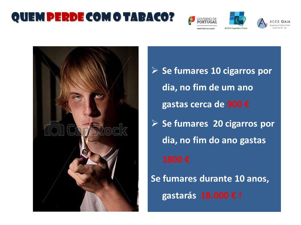  Se fumares 10 cigarros por dia, no fim de um ano gastas cerca de 900 €  Se fumares 20 cigarros por dia, no fim do ano gastas 1800 € Se fumares dura
