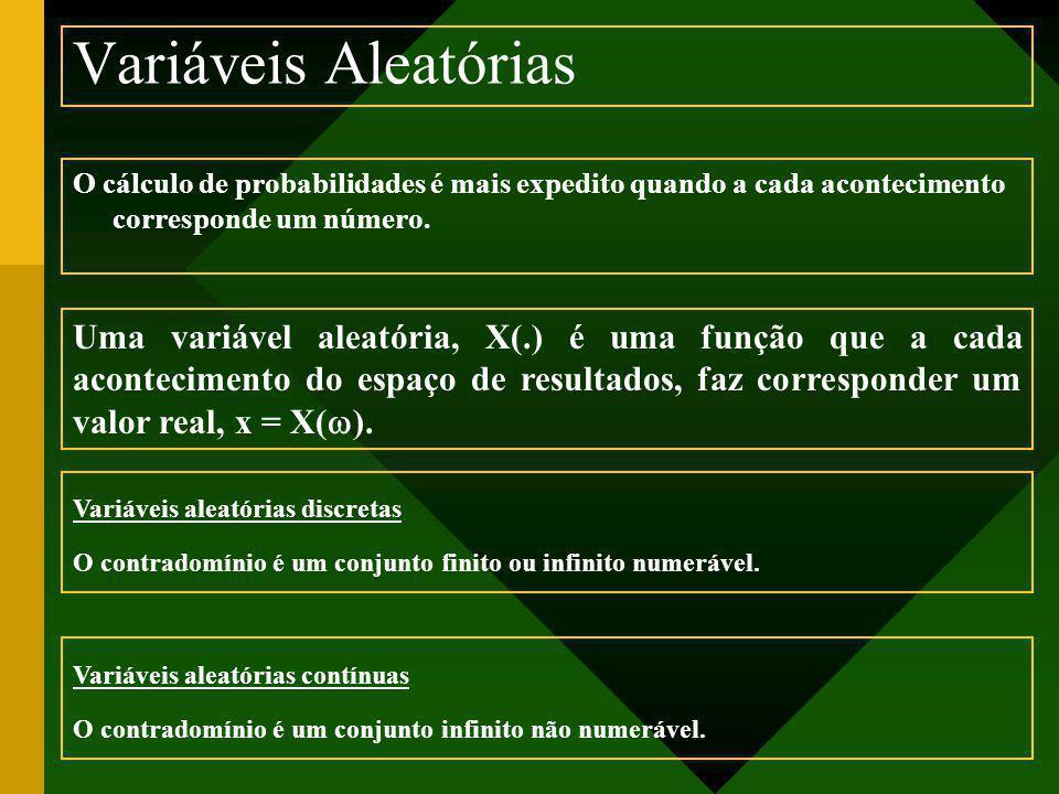 Variáveis Aleatórias O cálculo de probabilidades é mais expedito quando a cada acontecimento corresponde um número. Uma variável aleatória, X(.) é uma
