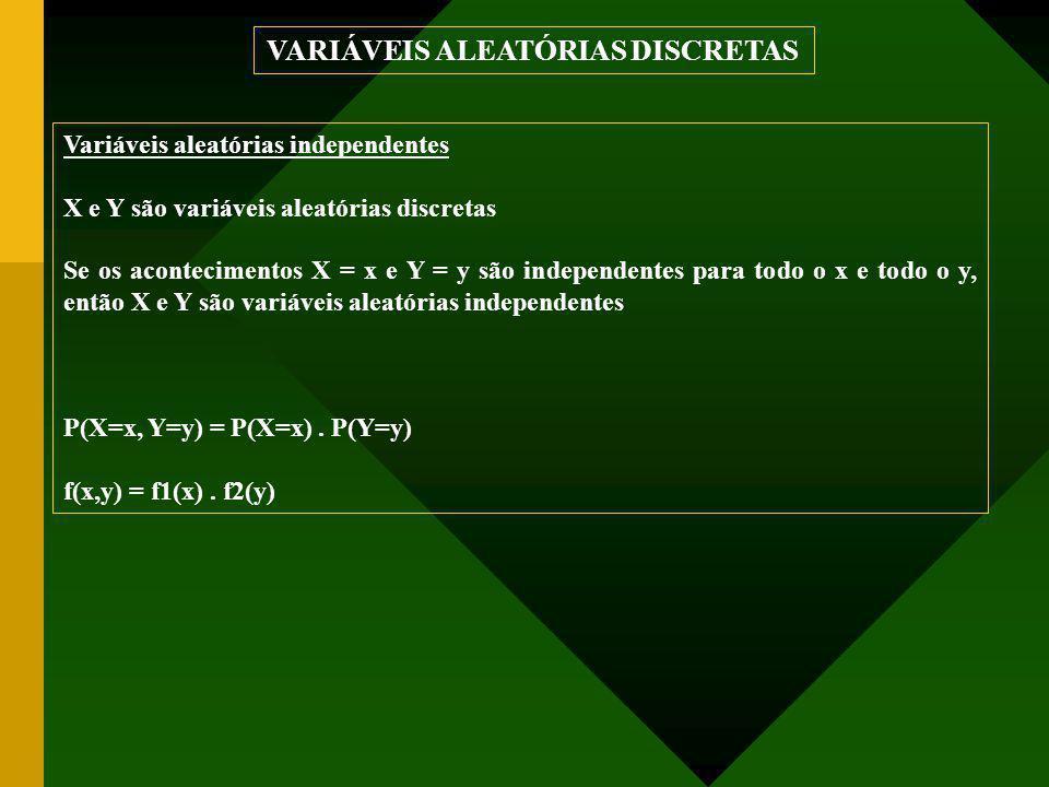Variáveis aleatórias independentes X e Y são variáveis aleatórias discretas Se os acontecimentos X = x e Y = y são independentes para todo o x e todo o y, então X e Y são variáveis aleatórias independentes P(X=x, Y=y) = P(X=x).