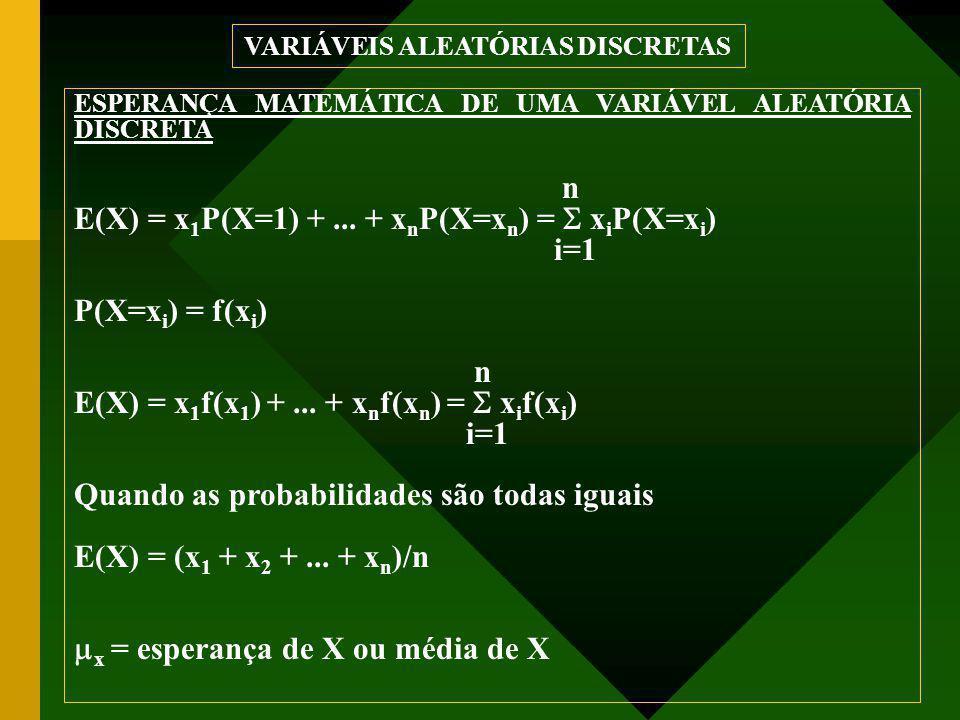 ESPERANÇA MATEMÁTICA DE UMA VARIÁVEL ALEATÓRIA DISCRETA n E(X) = x 1 P(X=1) +... + x n P(X=x n ) =  x i P(X=x i ) i=1 P(X=x i ) = f(x i ) n E(X) = x