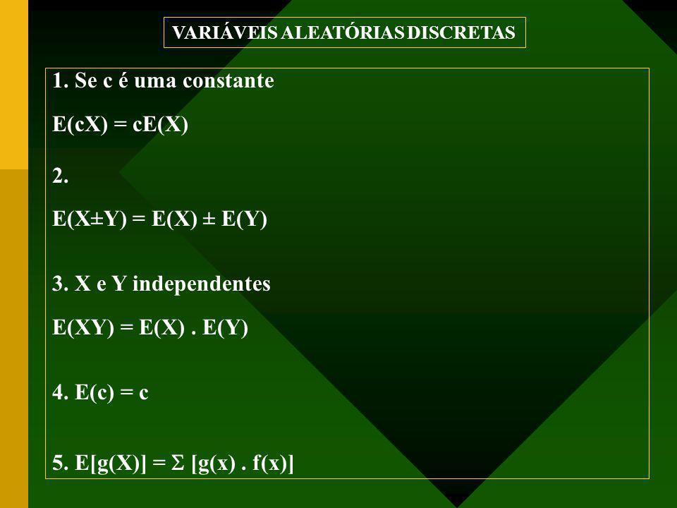 1. Se c é uma constante E(cX) = cE(X) 2. E(X±Y) = E(X) ± E(Y) 3. X e Y independentes E(XY) = E(X). E(Y) 4. E(c) = c 5. E[g(X)] =  [g(x). f(x)] VARIÁV