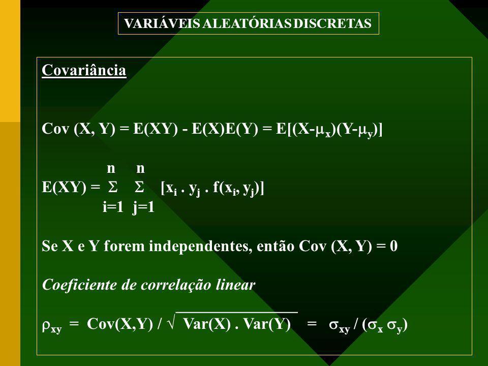 Covariância Cov (X, Y) = E(XY) - E(X)E(Y) = E[(X-  x )(Y-  y )] n E(XY) =  [x i. y j. f(x i, y j )] i=1 j=1 Se X e Y forem independentes, entã