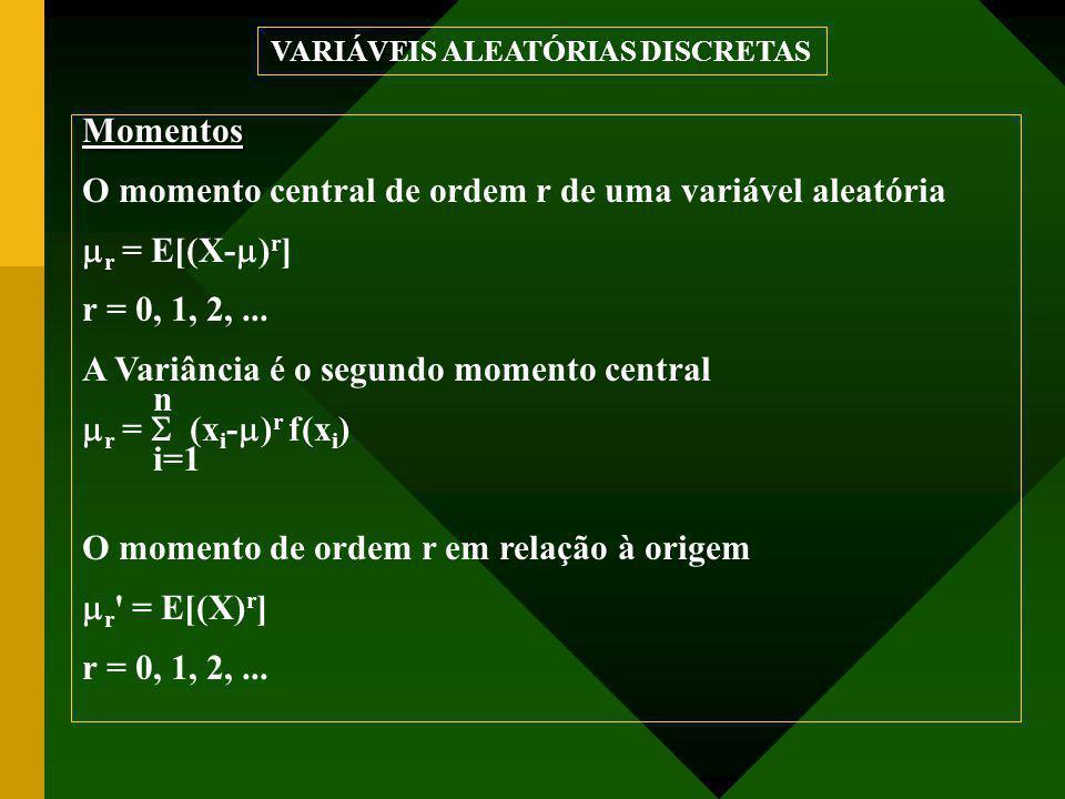Momentos O momento central de ordem r de uma variável aleatória  r = E[(X-  ) r ] r = 0, 1, 2,... A Variância é o segundo momento central n  r = 