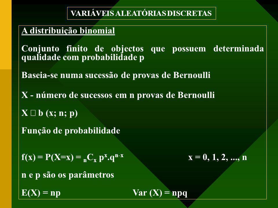 A distribuição binomial Conjunto finito de objectos que possuem determinada qualidade com probabilidade p Baseia-se numa sucessão de provas de Bernoulli X - número de sucessos em n provas de Bernoulli X  b (x; n; p) Função de probabilidade f(x) = P(X=x) = n C x p x.q n-x x = 0, 1, 2,..., n n e p são os parâmetros E(X) = npVar (X) = npq VARIÁVEIS ALEATÓRIAS DISCRETAS