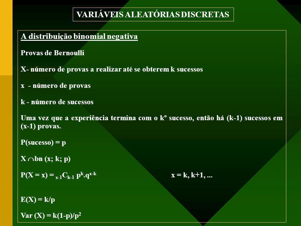 A distribuição binomial negativa Provas de Bernoulli X- número de provas a realizar até se obterem k sucessos x - número de provas k - número de sucessos Uma vez que a experiência termina com o kº sucesso, então há (k-1) sucessos em (x-1) provas.