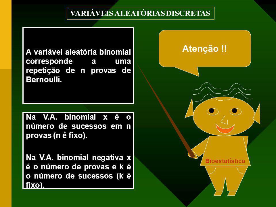 Na V.A. binomial x é o número de sucessos em n provas (n é fixo). Na V.A. binomial negativa x é o número de provas e k é o número de sucessos (k é fix