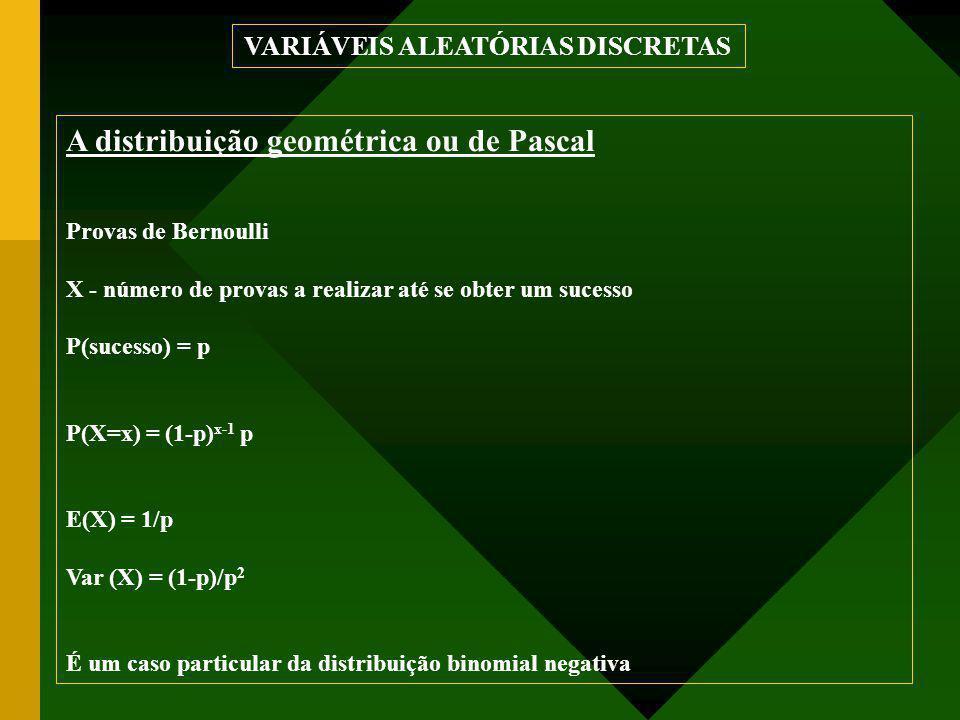 A distribuição geométrica ou de Pascal Provas de Bernoulli X - número de provas a realizar até se obter um sucesso P(sucesso) = p P(X=x) = (1-p) x-1 p E(X) = 1/p Var (X) = (1-p)/p 2 É um caso particular da distribuição binomial negativa VARIÁVEIS ALEATÓRIAS DISCRETAS