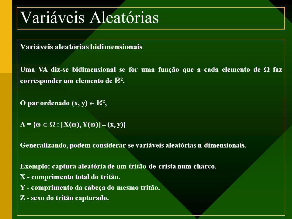 Variáveis aleatórias bidimensionais Uma VA diz-se bidimensional se for uma função que a cada elemento de  faz corresponder um elemento de ℝ 2. O par