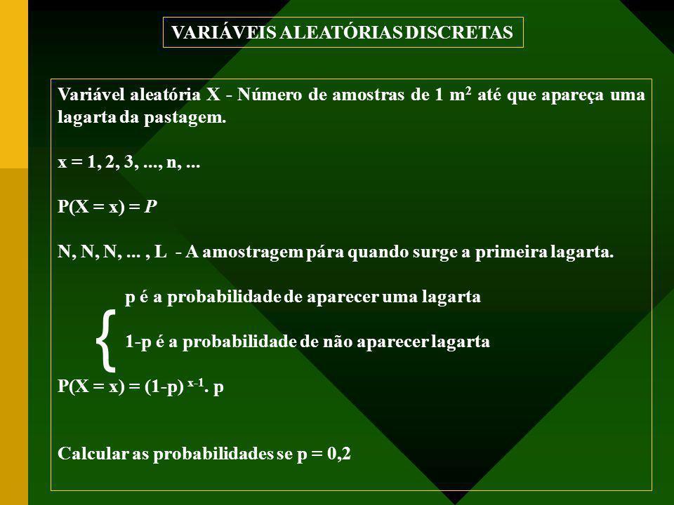 Variável aleatória X - Número de amostras de 1 m 2 até que apareça uma lagarta da pastagem. x = 1, 2, 3,..., n,... P(X = x) = P N, N, N,..., L - A amo