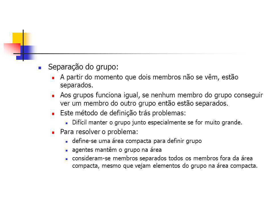 Separação do grupo: A partir do momento que dois membros não se vêm, estão separados.