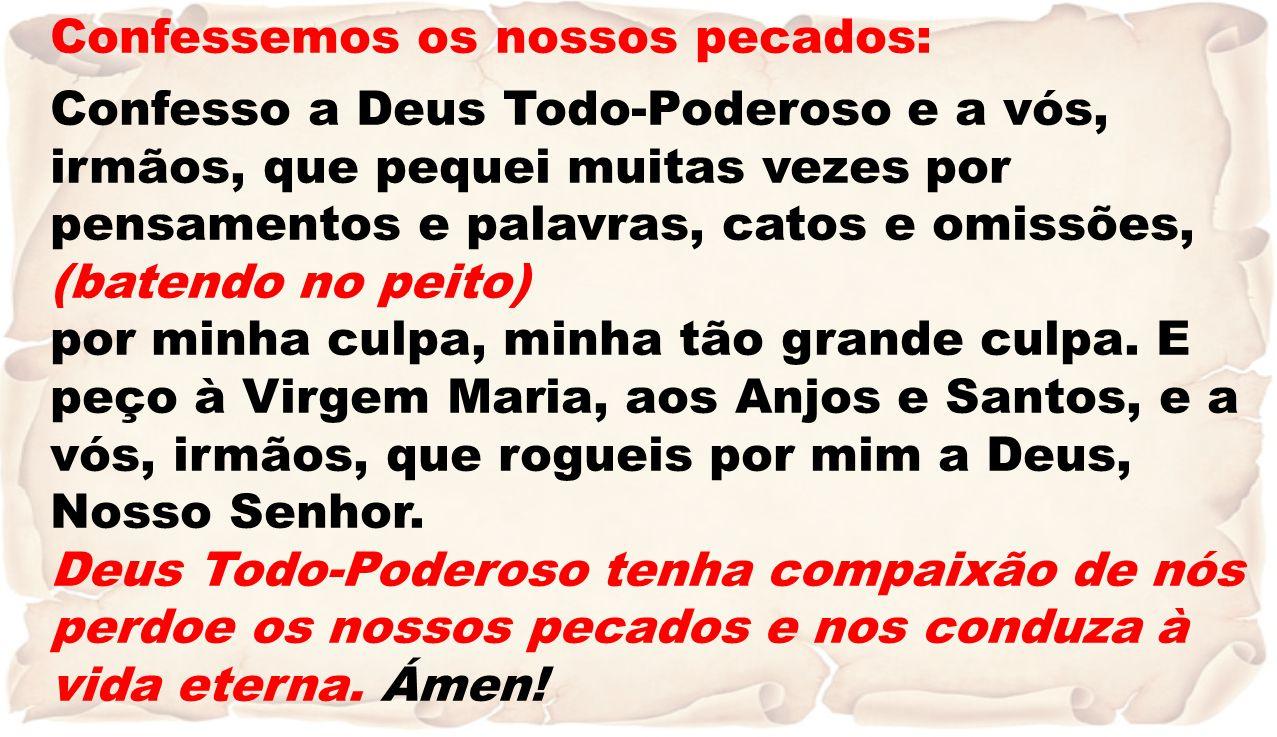 Confessemos os nossos pecados: Confesso a Deus Todo-Poderoso e a vós, irmãos, que pequei muitas vezes por pensamentos e palavras, catos e omissões, (b
