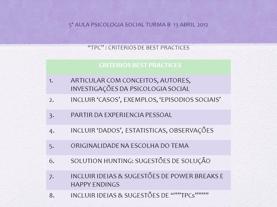"""5ª AULA PSICOLOGIA SOCIAL TURMA B 13 ABRIL 2012 """"TPC"""" : CRITERIOS DE BEST PRACTICES CRITERIOS BEST PRACTICES 1.ARTICULAR COM CONCEITOS, AUTORES, INVES"""