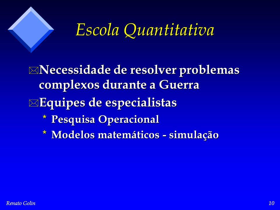 Renato Golin10 Escola Quantitativa * Necessidade de resolver problemas complexos durante a Guerra * Equipes de especialistas * Pesquisa Operacional *