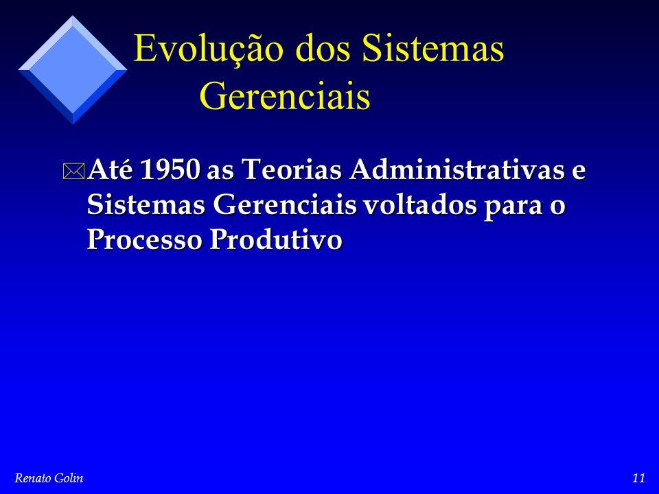 Renato Golin11 Evolução dos Sistemas Gerenciais * Até 1950 as Teorias Administrativas e Sistemas Gerenciais voltados para o Processo Produtivo